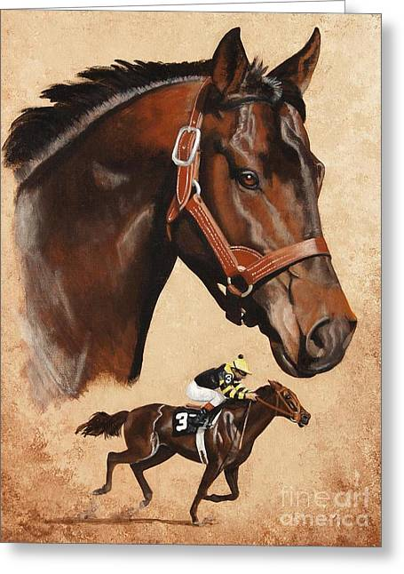 Seattle Slew Greeting Card by Pat DeLong
