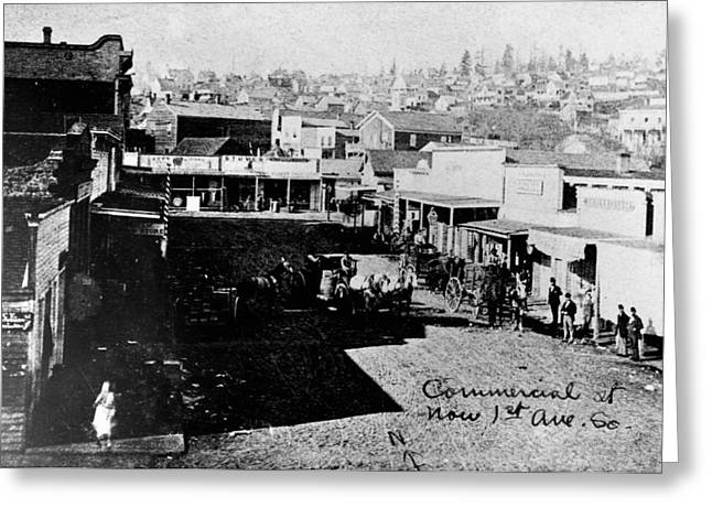 Greeting Card featuring the photograph Seattle, Washington, 1880s by Granger