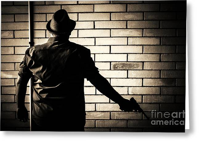 Secret Agent Silhouette About To Surrender Handgun Greeting Card by Jorgo Photography - Wall Art Gallery