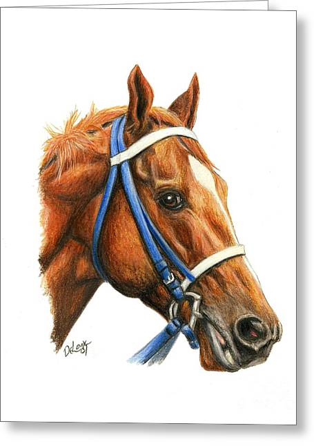Secretariat With Racing Bridle Greeting Card by Pat DeLong