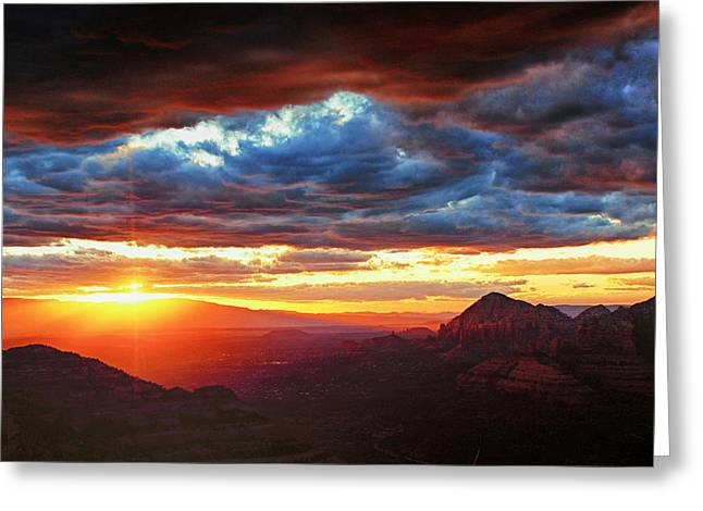Sedona Sunset Greeting Card by Brian Kerls