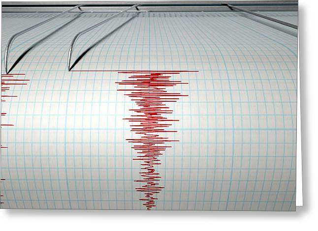 Seismograph Earthquake Activity Greeting Card by Allan Swart