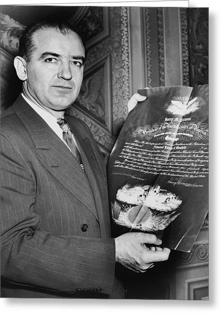 Senator Joseph R. Mccarthy Greeting Card by Underwood Archives