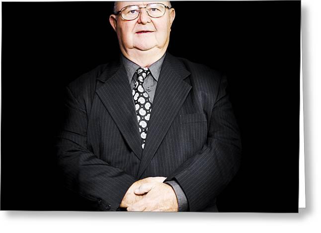 Senior Business Man Isolated On Black Background Greeting Card
