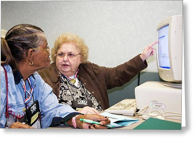 Senior Citizen Learning To Use Computer Greeting Card by Jim West
