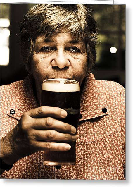 Senior Person Enjoying A Cold Beer At Bowls Club Greeting Card
