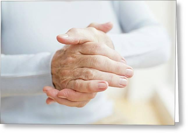 Senior Woman's Hands Greeting Card