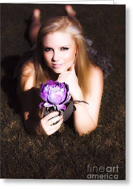 Sensual Blonde Holding Lotus Flower Greeting Card by Jorgo Photography - Wall Art Gallery