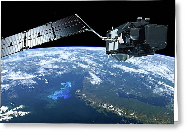 Sentinel-3 Satellite In Orbit Greeting Card by Atg Medialab/esa