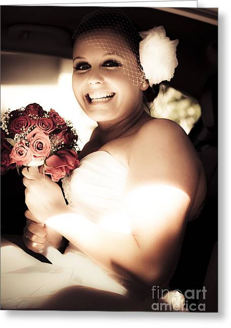 Sepia Tone Bride Greeting Card by Jorgo Photography - Wall Art Gallery