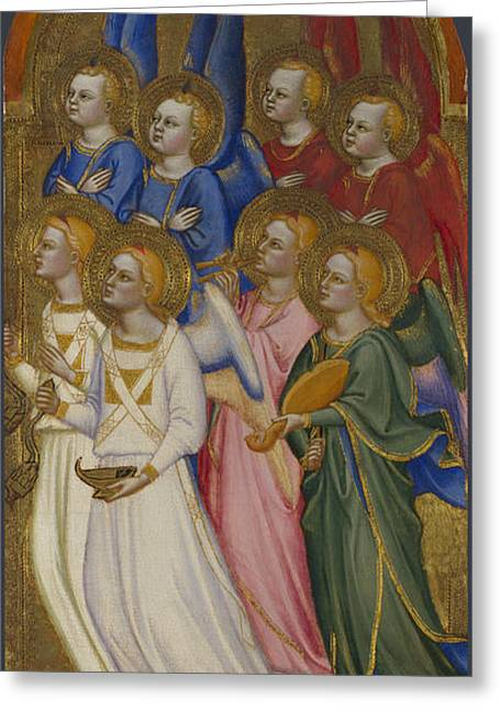 Seraphim Cherubim And Adoring Angels Greeting Card by Jacopo di Cione and Workshop