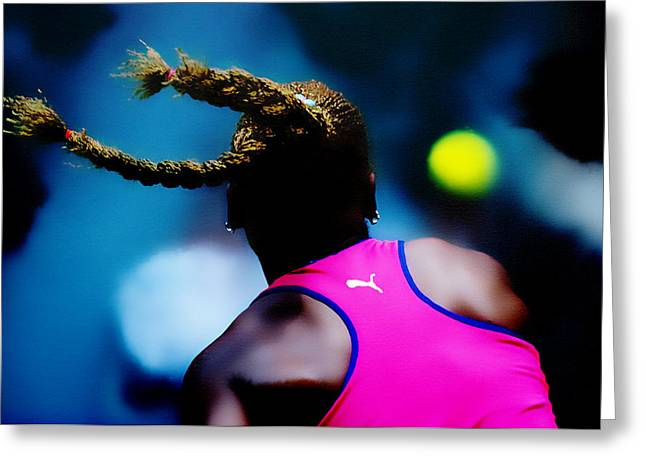 Serena Williams Return Greeting Card by Brian Reaves