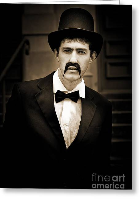 Serious Vintage Man Greeting Card by Jorgo Photography - Wall Art Gallery