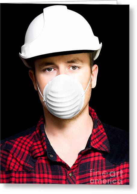 Serious Young Male Artisan Wearing Protective Mask Greeting Card by Jorgo Photography - Wall Art Gallery