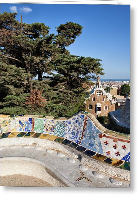 Serpentine Bench In Park Gueli In Barcelona Greeting Card