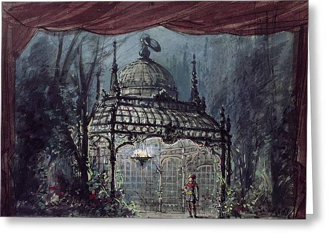 Set Design For The Magic Flute By Wolfgang Amadeus Mozart  Greeting Card by French School