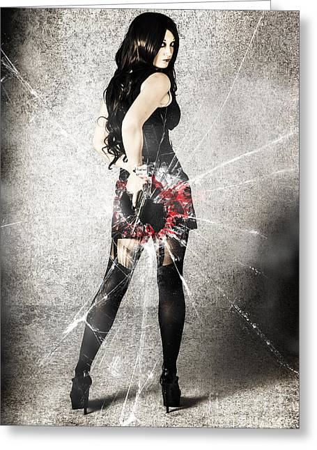 Sexy Brunette Woman Holding Gun With Deadly Style Greeting Card by Jorgo Photography - Wall Art Gallery
