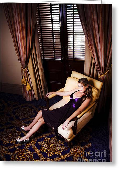 Sexy Female Model In Glamour Fashion  Greeting Card by Jorgo Photography - Wall Art Gallery