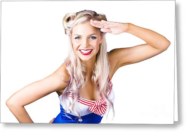 Sexy Pin-up Woman In Sailor Outfit Greeting Card by Jorgo Photography - Wall Art Gallery