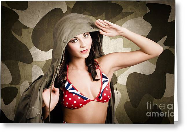 Sexy Vintage Army Girl Saluting Greeting Card by Jorgo Photography - Wall Art Gallery