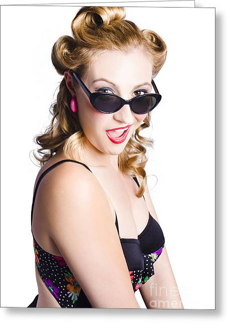 Sexy Woman In Swimsuit Greeting Card by Jorgo Photography - Wall Art Gallery