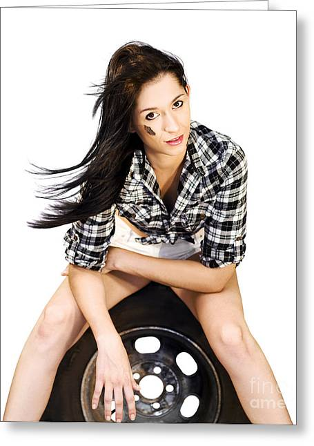 Sexy Woman Sitting On Car Tyre Greeting Card by Jorgo Photography - Wall Art Gallery