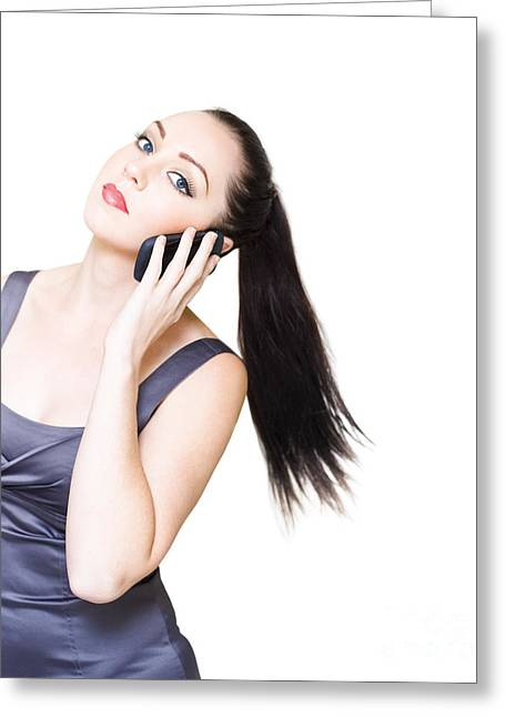 Sexy Young Business Woman On White Background  Greeting Card by Jorgo Photography - Wall Art Gallery