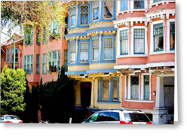 Sf Rowhouses Greeting Card by Mamie Gunning