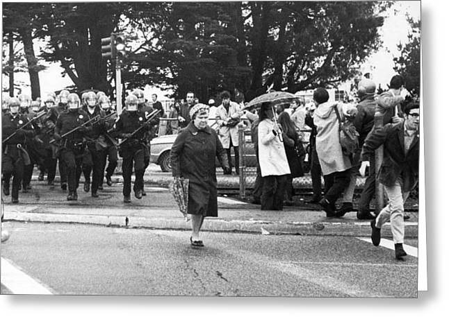 Sf State Riots Scene Greeting Card by Underwood Archives