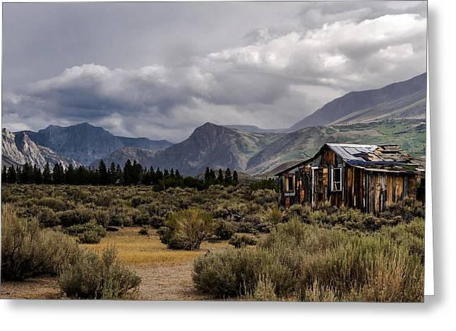 Shack In The Mountains Greeting Card by Cat Connor