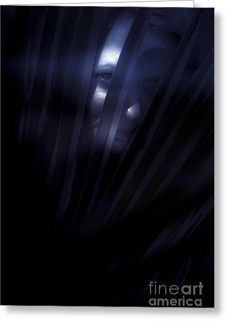 Shadowed Woman Behind Frond Greeting Card by Jorgo Photography - Wall Art Gallery