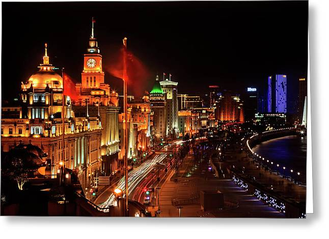 Shanghai, China Bund At Night Cars Greeting Card by William Perry
