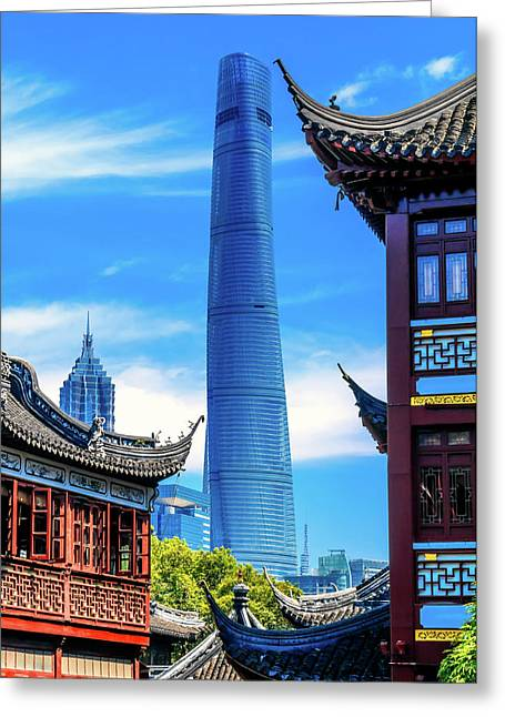 Shanghai Tower, Second Tallest Building Greeting Card by William Perry