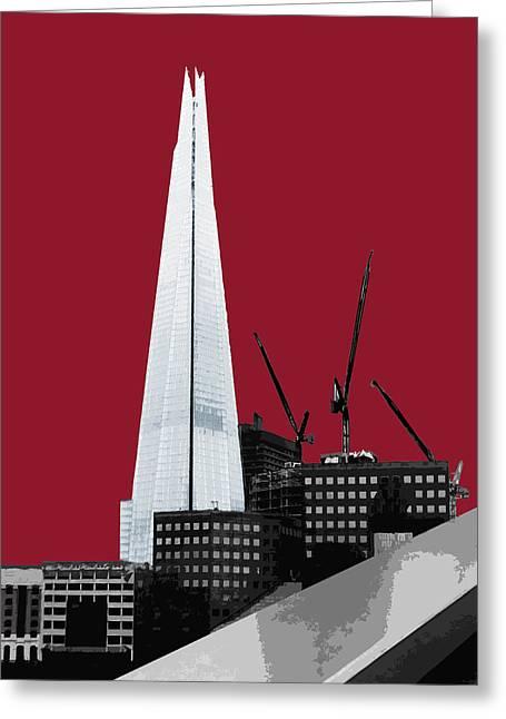 Shard - Blazing Red Greeting Card by Big Fat Arts