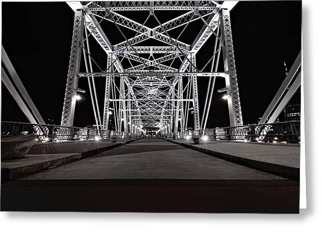 Shelby Street Bridge At Night Greeting Card by Dan Sproul
