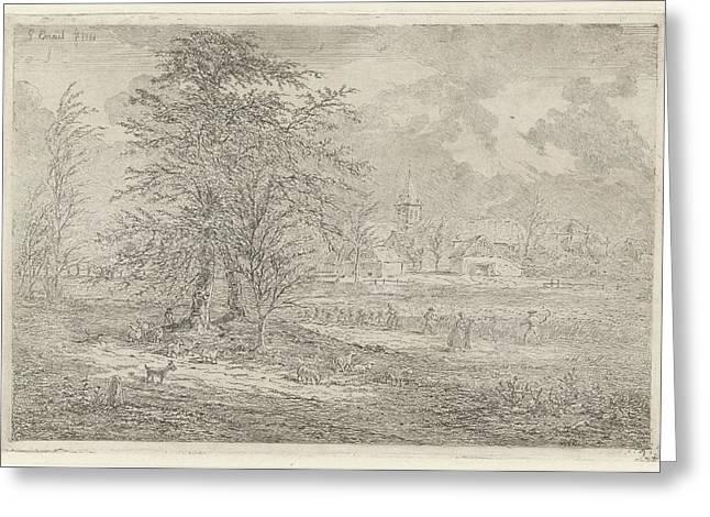 Shepherd In Cornfield, Gerardus Emaus De Micault Greeting Card
