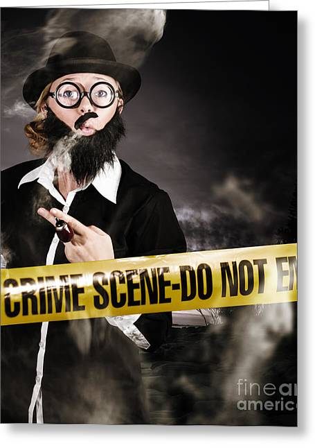 Sherlock Holmes Detective At Crime Scene Greeting Card