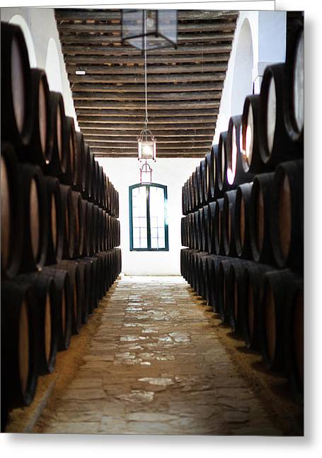 Sherry Casks In A Winery, Gonzalez Greeting Card