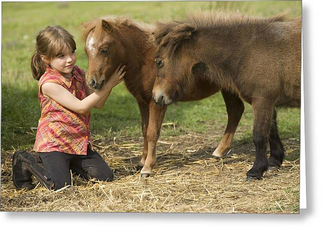 Shetland Pony And Girl Greeting Card by Jean-Michel Labat
