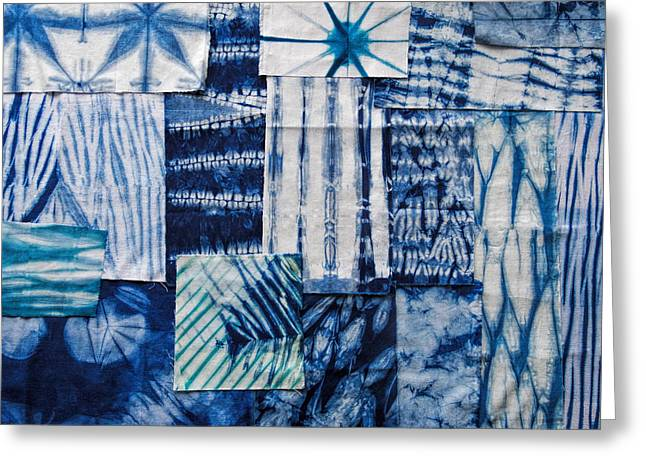 Shibori Patchwork Indigo Greeting Card
