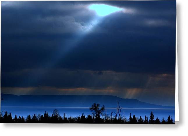 Shining A Light Over The Bay Greeting Card
