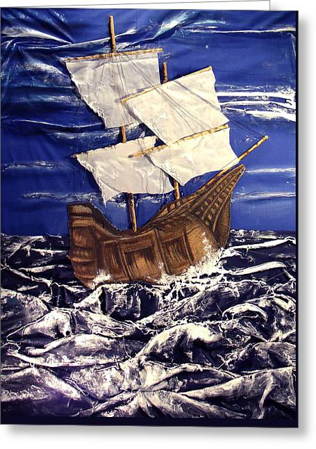 Ship Greeting Card by Angela Stout