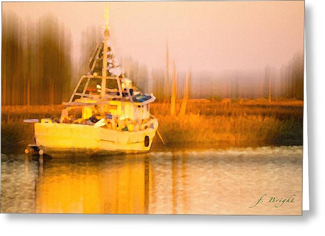 Ship At Dusk  Greeting Card