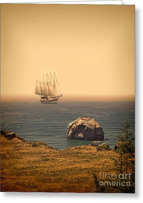 Ship Off The Coast Greeting Card by Jill Battaglia