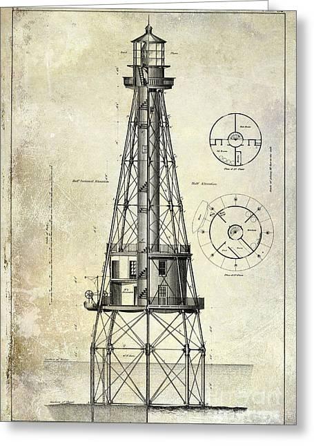 Ship Shoal Light House Blueprint Greeting Card by Jon Neidert