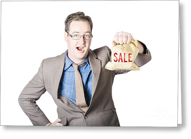 Shocked Business Man Holding Sale Cash Back Bag Greeting Card by Jorgo Photography - Wall Art Gallery