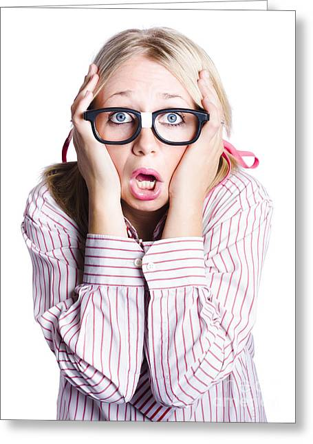 Shocked Business Woman On White Greeting Card by Jorgo Photography - Wall Art Gallery