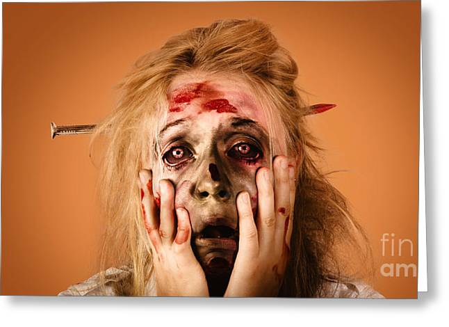 Shocked Horror Halloween Zombie With Hands Face Greeting Card