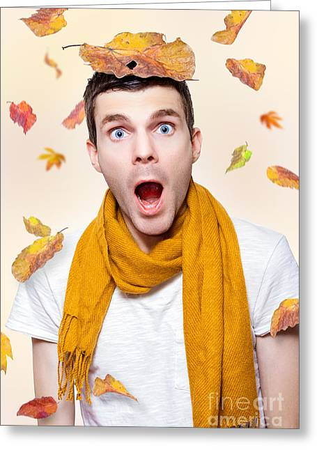 Shocked Man Playing In Falling Autumn Leaves Greeting Card