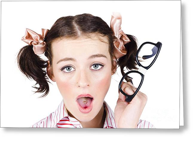 Shocked Young Businesswoman Greeting Card by Jorgo Photography - Wall Art Gallery